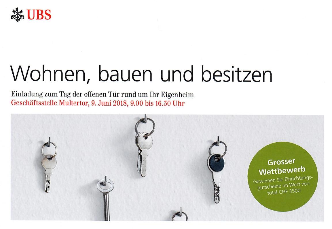 ProLiving<sup>®</sup> referiert beim UBS - Tag der offenen Tür rund um das Eigenheim am 09. Juni 2018 (Geschäftsstelle Multertor)